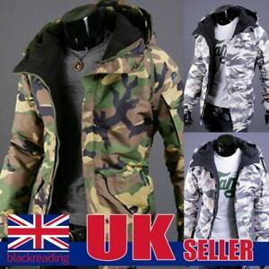 Mens Camouflage Fleece Fur Lined Hooded Coat Zip Up Jacket Camo Military Jumper