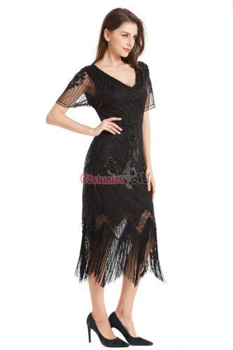 Deluxe Ladies 20s 1920s Roaring Flapper Costume Sequin Gatsby Black Fancy Dress
