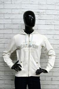 Felpa-Donna-CHAMPION-Taglia-M-Pullover-Cardigan-Sweatshirt-Bianco-Con-Cappuccio