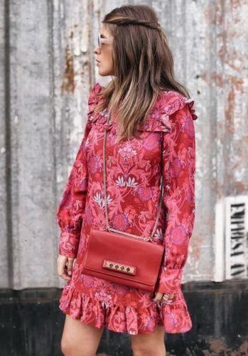 2e694fd9 Frill Small Red Zara Silk Bnwt Mix Size Jaquard Dress g0IU0aSO