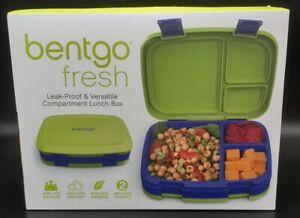 NIB-Bentgo-Fresh-Blue-Lime-Green-Leak-proof-4-Compartment-Lunch-Box-School-Work