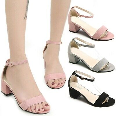 New Women's Fashion Ankle Strap Chunky Heels Sandals Peep