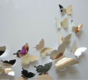 12 spiegel schmetterlinge 3d wandtattoo wandaufkleber wanddeko aufkleber ebay - Wanddeko schmetterlinge 3d ...