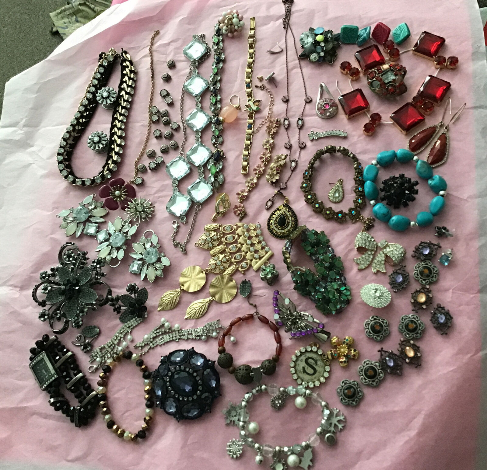 Mixed Jewelry Accessory Craft Lot Broken Wearable for Repair & Repurpose