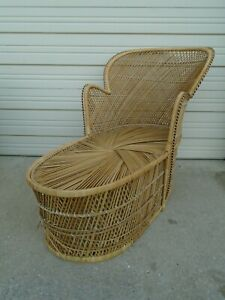Prime Details About Wicker Peacock Chaise Lounge Chair Rattan Hollywood Regency Palm Beach Fan Back Inzonedesignstudio Interior Chair Design Inzonedesignstudiocom