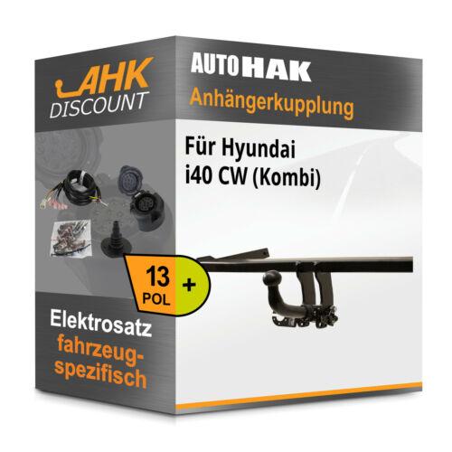 AUTO HAK Anhängerkupplung abnehmbar 13polig E-Satz AHK Für Hyundai i40 CW 11