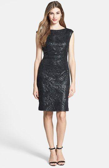 Sue Wong Faux Leather Sequin Lace Lace Lace Sheath Dress Size 10 NWT  468 554a1f