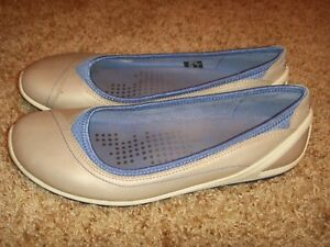 Details about ECCO Biom Lite Gray & Purple Leather Slip On Ballet Flats Womens Size 41