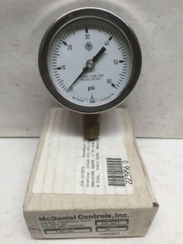 "McDaniel Controls Pressure Gauge Code JC 0-60 PSI 1//4"" NPT AB"