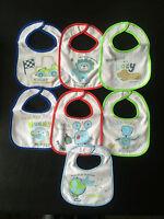 Baby Bibs 7 Pack Days of Week Multi Colour Terry Towel Waterproof Velcro Boys UK