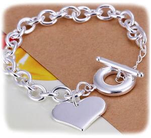 Valentines-925-Sterling-Silver-Women-039-s-Elegant-Heart-Link-Bracelet-GiftPk-D483
