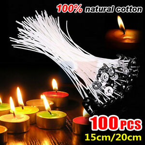 100 Piece Low Smoke 15/20cm  Pre-Waxed With Sustainers Candle Wicks