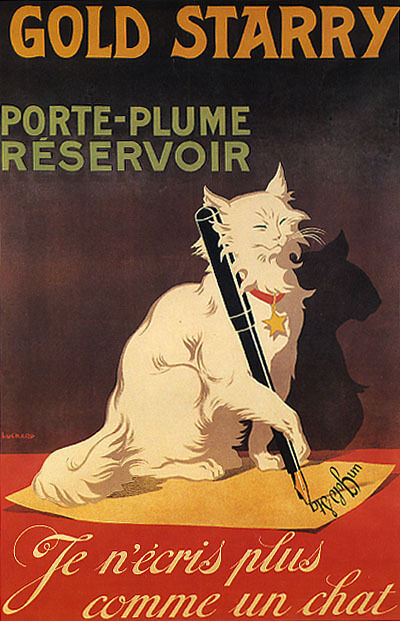 Gold STARRY FOUNTAIN PEN WRITING Weiß CAT LETTER FRENCH VINTAGE POSTER REPRO