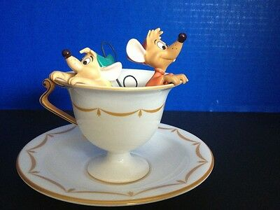 "WDCC  Jaq Gus Cinderella ""Tea for Two"" Tea Cup W/ RARE Royal Doulton Saucer MIB"