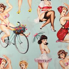 1m Beauties and Brains Stone Alexander Henry Fabric PER METRE grey pin up zombie