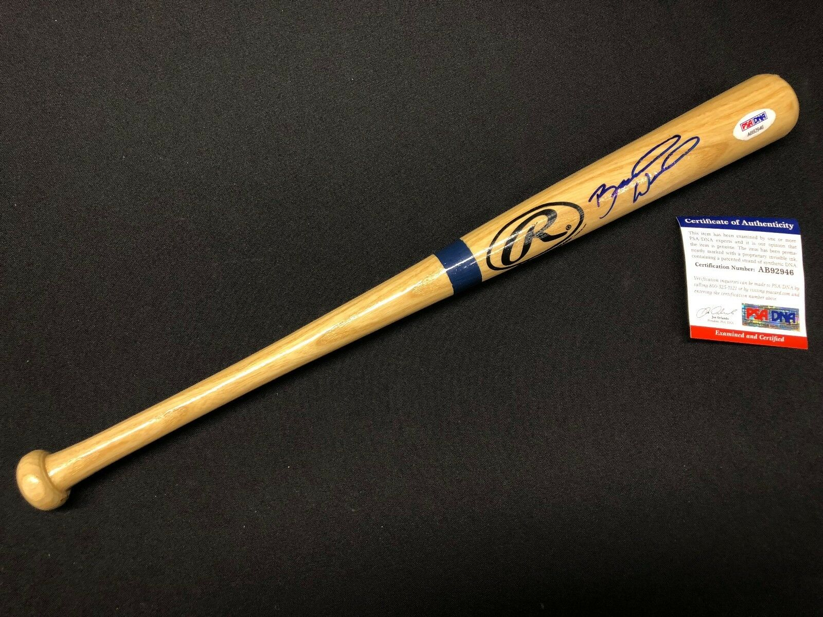 Brandon Wood Signed Mini Baseball Bat *Angels *Pirates PSA AB92946