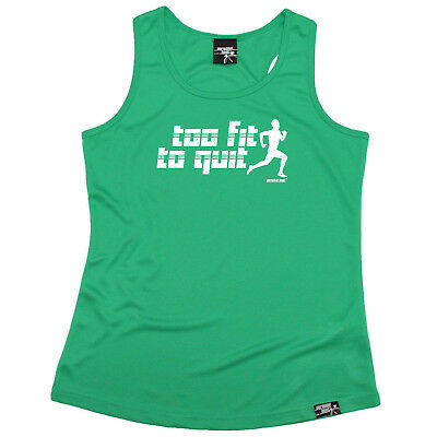 Herzhaft Running Vest Funny Womens Sports Performance Singlet - Too Fit To Quit