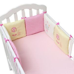6PCs Baby Crib Bumper Cute Cartoon Toddler Bed Protector Soft Cot Supplies Chic