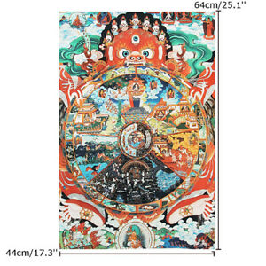 17-039-039-x-25-039-039-Silk-Print-Thangka-Scroll-Samsara-Bhavachakra-Wheel-Of-Life-Buddha