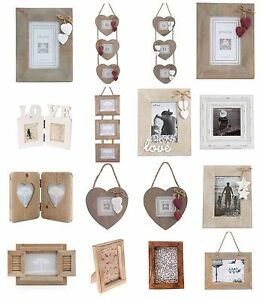 Shabby-Chic-White-Natural-Wood-Rectangle-Heart-Photo-Frames-Decoration