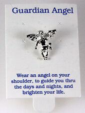 6030333 Guardian Angel Rhodium Silver Plated Lapel Pin Brooch Tie Tack Collar...