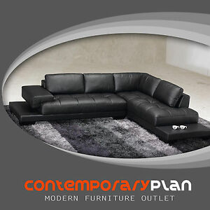 Details about Modern Black Leather Sectional Sofa Contemporary Italian  Design NEW