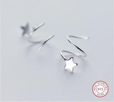 GroßZüGig 925 Sterlingsilber Ohrstecker Ohrringe Ohrklemme Stern Spirale Sterne Silber Produkte Werden Ohne EinschräNkungen Verkauft