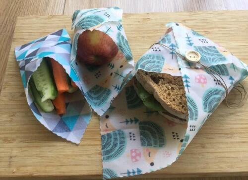 Set of 3 1 Large, 1 Medium /& 1 Small Reusable Beeswax Food//Sandwich  Wrap