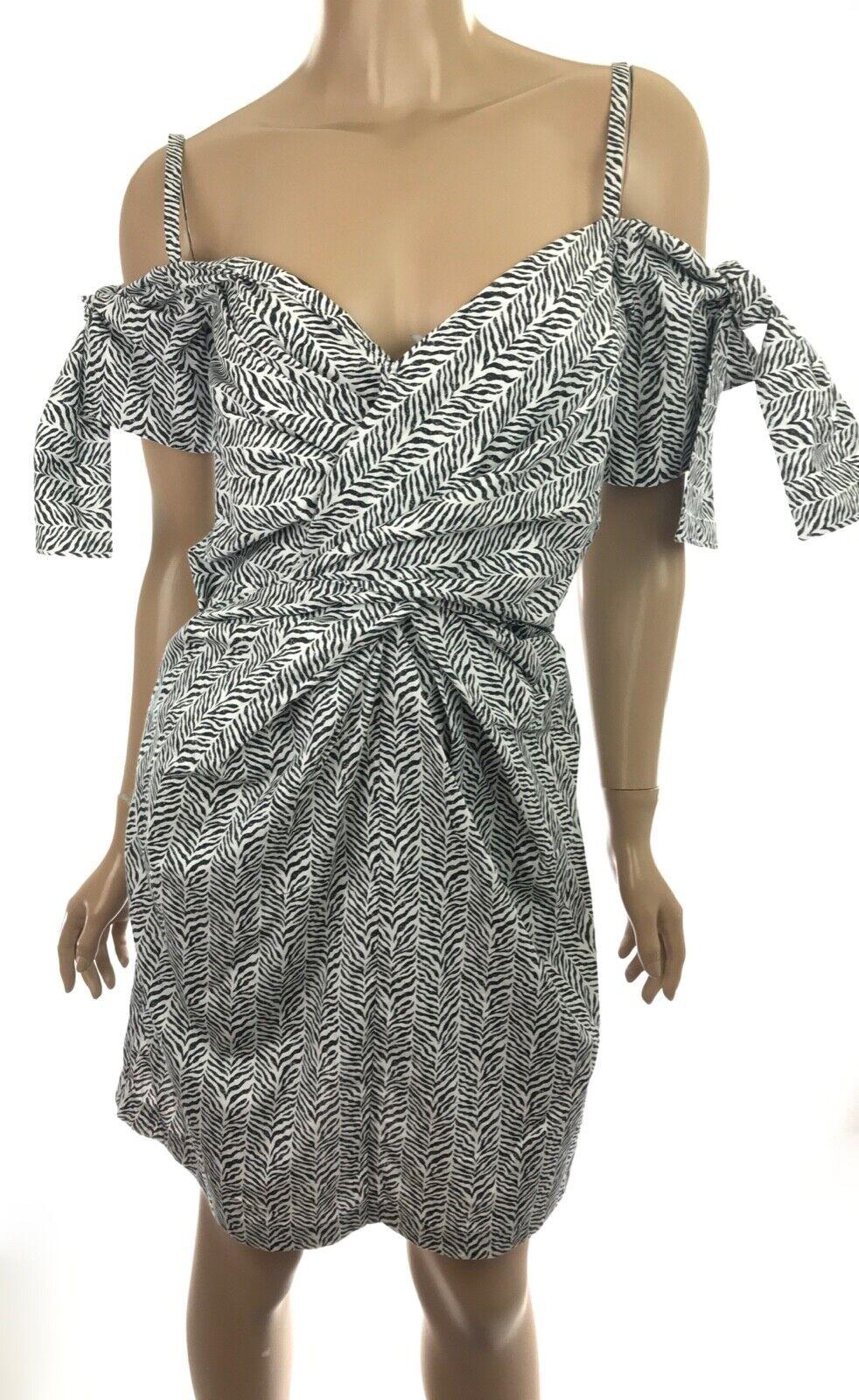 Edun Herringbone Poplin Twist Dress schwarz & Weiß Zebra Print
