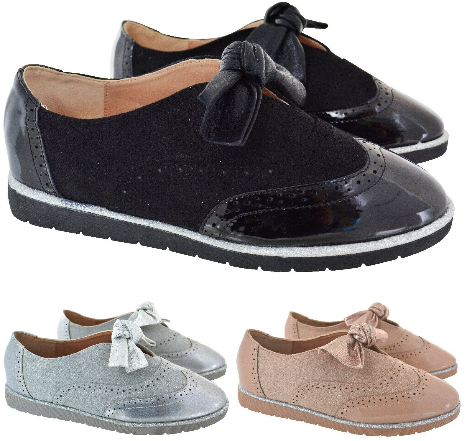 LADIES Mujer zapatos BROGUE BOW FLAT LOAFERS WORK OFFICE SCHOOL SMART zapatos Mujer Talla 3-8 ce872f