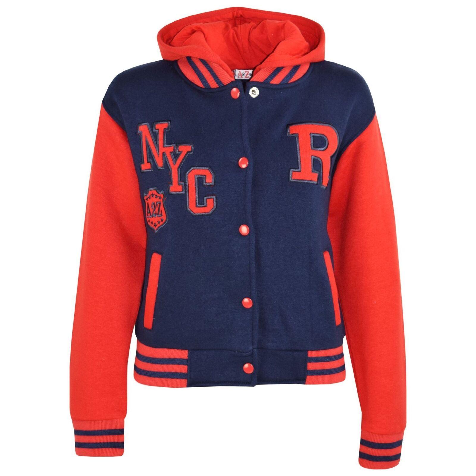 s Filles Garçons R FASHION NYC Baseball Bleu marine marine marine & rouge à capuche Vestes Varsity Hoodies fa7a73