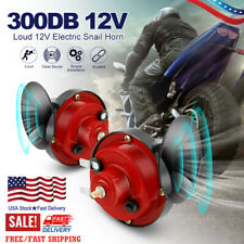 2pcs 12v Super Loud Car 300db Dual Tone Snail Electric Air Horn Siren Motorcycle