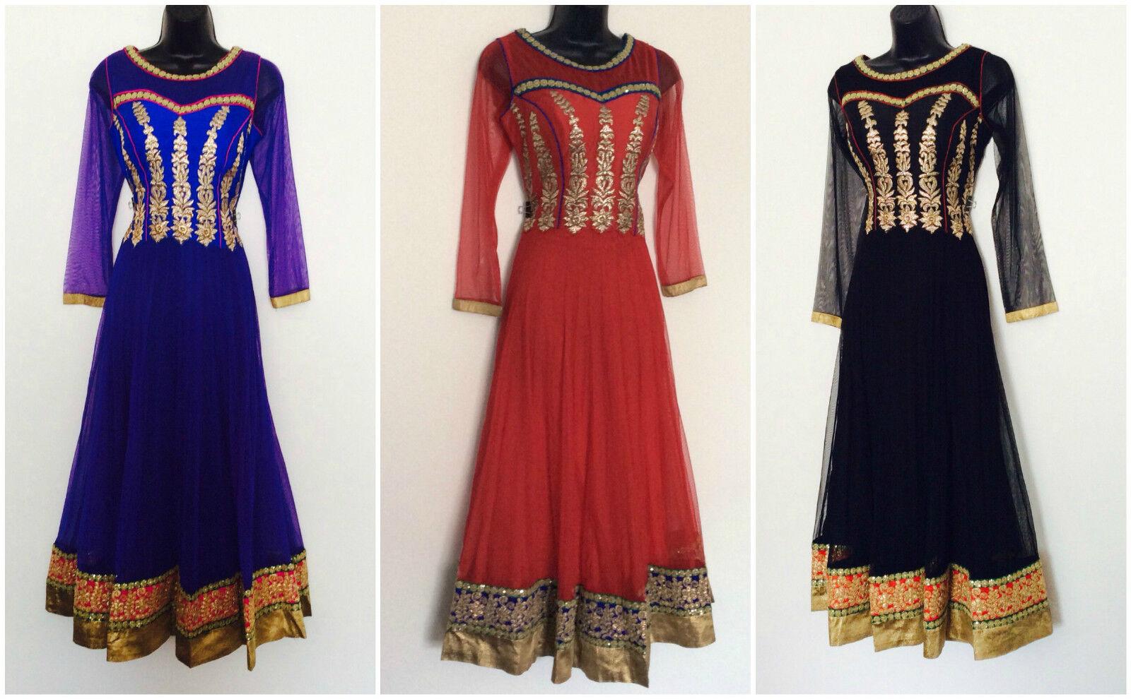 Indian Pakistani Blau schwarz rot Anarkali Salwar Kameez Ladies Long damen S-M