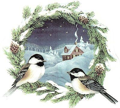 Chickadee Wreath Winter Snow Scene Select-A-Size Waterslide Ceramic Decals Ox