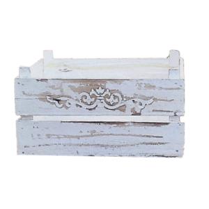Pflanzschale Pflanztopf Kiste Holz Obstkiste weiß Vintage Shabby Garten Terrasse