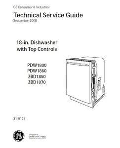 repair manual general electric dishwashers choice of 1 manual see rh ebay com GE Electric Dishwasher Electric Dishwasher Problems