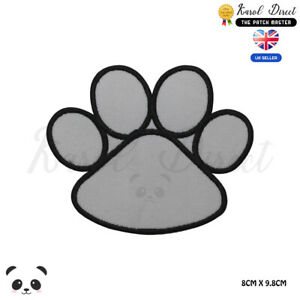 White Dog Paw Dog Lover Embroidered Iron On Sew On PatchBadge For Clothes etc