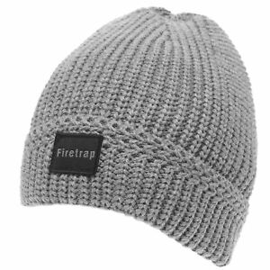 7fe55efe3d6 Image is loading Firetrap-Mens-Ribbed-Beanie-Hat-Winter-Warm-Stretch