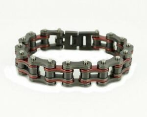 Image Is Loading Stainless Steel Candy Red Amp Gunmetal Bike Chain