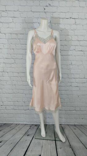 1940's Vintage Women's Dusty Pink Lace Trim Pure 1