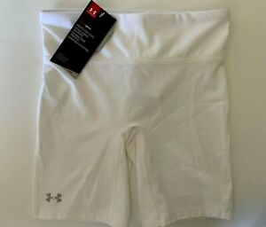 NEW UNDER ARMOUR [XS] Women LONG COMPRESSION Shorts-White 1236555