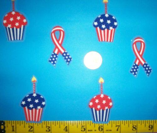 Cool! 4th Of July Cupcake and Ribbons IRON-ONS FABRIC APPLIQUES IRON-ONS New