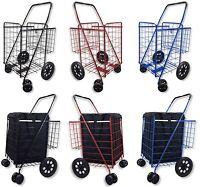 Shopping Cart Jumbo Folding Swivel Wheel Extra Basket Grocery Black Blue Red