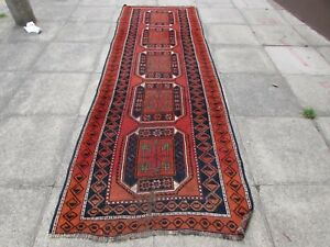 Old-Traditional-Hand-Made-Persian-Oriental-Wool-Red-Brown-Long-Runner-328x109cm