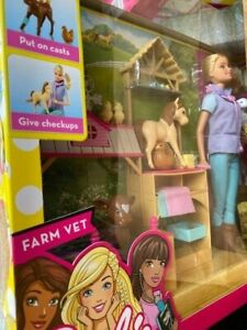 Barbie Careers Farm Vet Doll & Playset Pets Horse Cow Dog NEW FACTORY SEALED