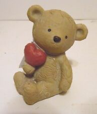 4 Inch Resin Cream Color Bear With Heart Valentines Day Figurine Decoration Gift