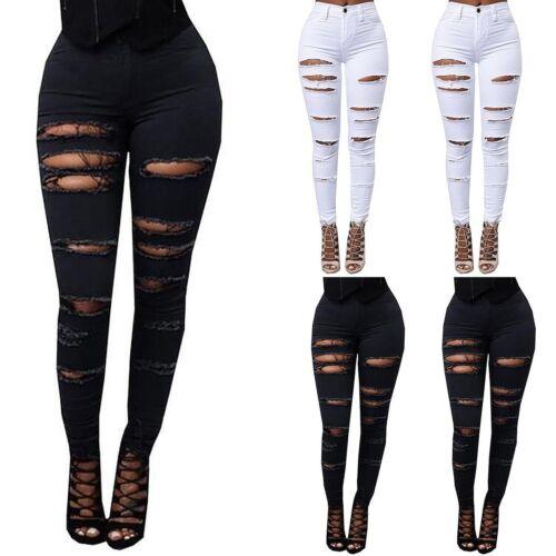 Denim Skinny Ladies Ripped Pants High Waist Stretch Jeans Slim Pencil Trousers