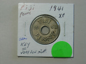 1941-Fiji-1-Penny-King-George-VI-Colonial-Coin-WWII-Era-South-Pacific-Island