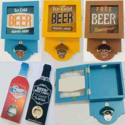 Retro Wooden Wall Mounted Hand Held Beer Cola Bottle Cap Top Opener Storage Box