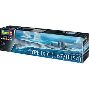 Revell-German-Type-IX-C-U67-U154-Submarine-Model-Kit-Scale-1-72-05166